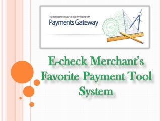E-check Merchant's Favorite Payment Tool System