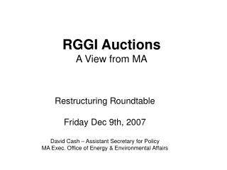 RGGI Auctions A View from MA