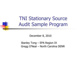 TNI Stationary Source  Audit Sample Program