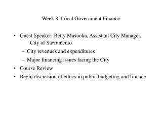 Week 8: Local Government Finance