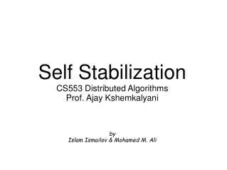Self Stabilization CS553 Distributed Algorithms Prof. Ajay Kshemkalyani by Islam Ismailov & Mohamed M. Ali