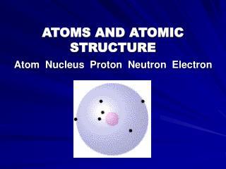 ATOMS AND ATOMIC STRUCTURE Atom Nucleus Proton Neutron Electron
