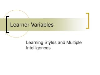Learner Variables