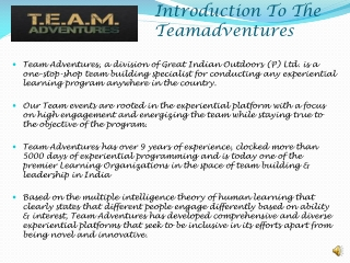 Introduction To The Teamadventures.in