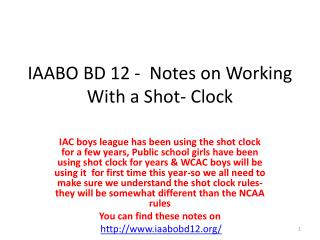 IAABO BD 12 -  Notes on Working With a Shot- Clock