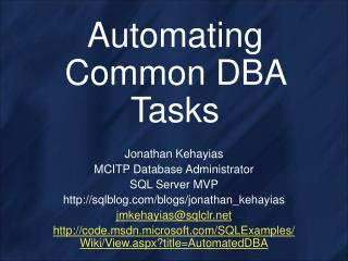 Automating Common DBA Tasks