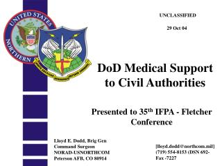 DoD Medical Support  to Civil Authorities