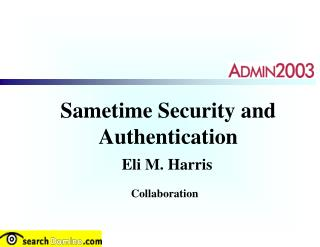 Sametime Security and Authentication