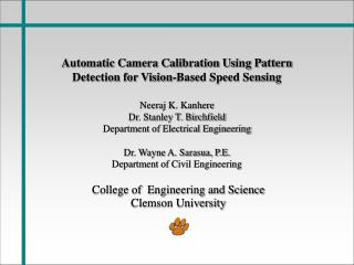 Automatic Camera Calibration Using Pattern Detection for Vision-Based Speed Sensing
