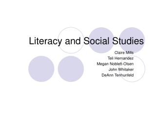 Literacy and Social Studies