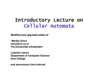 Introductory Lecture on  Cellular Automata