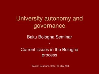 University autonomy and governance