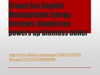 Crown Eco Capital Management Energy Reviews: Gundersen power