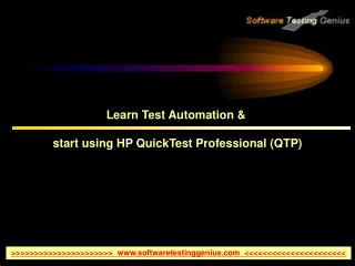 Learn Test Automation &  start using HP QuickTest Professional (QTP)