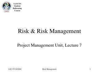 Risk & Risk Management