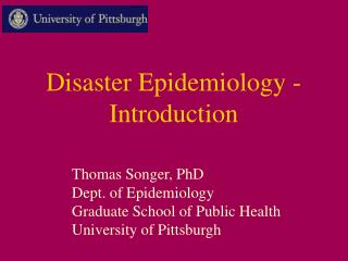 Disaster Epidemiology - Introduction