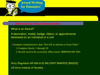 Award Writing for Dummies!