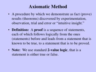 Axiomatic Method