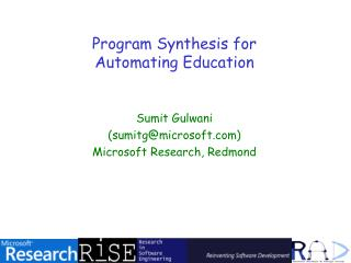 Program Synthesis for  Automating Education