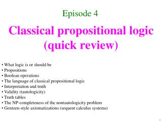 Classical propositional logic quick review