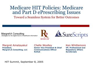 Medicare HIT Policies: Medicare and Part D ePrescribing Issues