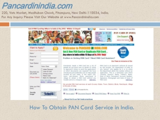 How To Obtain PAN Card Service in India