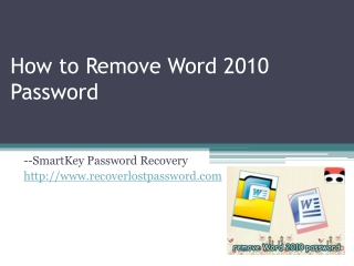 How to Remove Word 2010 Password