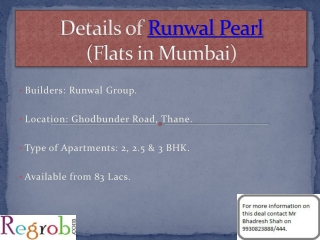 Runwal Pearl offers 2/2.5/3 BHK in Thane from 83 Lacs