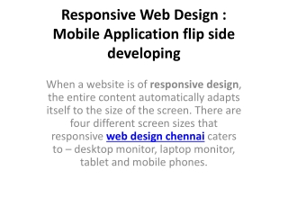 Responsive Web Design | Mobile Application flip side Develop