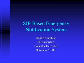 SIP-Based Emergency Notification System