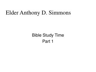 Elder Anthony D. Simmons