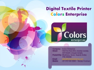 Varoius Textile Digital Printer - Colors Enterprise