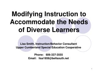 Modifying Instruction to Accommodate the Needs of Diverse Learners