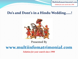 Do's and Dont's in a Hindu wedding……!