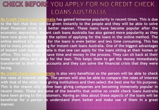 no credit check loans Australia