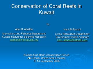 Conservation of Coral Reefs in Kuwait