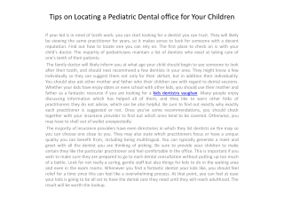 Tips on Locating a Pediatric Dental office for1