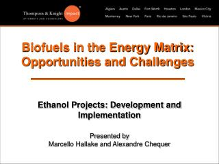 biofuels in the energy matrix: opportunities and challenges