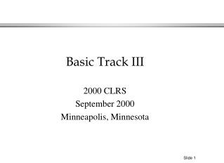 2000 CLRS September 2000 Minneapolis, Minnesota