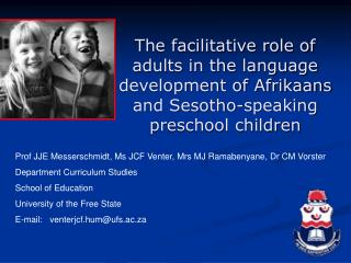 The facilitative role of adults in the language development of Afrikaans and Sesotho-speaking preschool children
