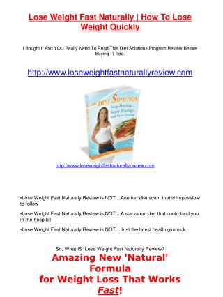 Lose Weight Fast Naturally