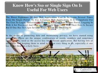 Know How's Sso or Single Sign On Is Useful For Web Users