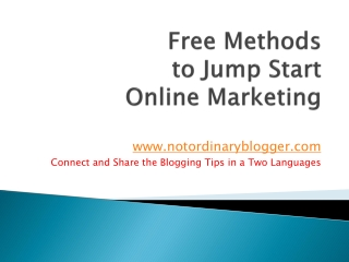 Free Methods to Jump Start Online Marketing