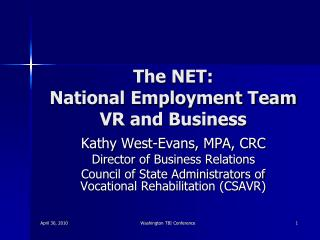 The NET:  National Employment Team VR and Business