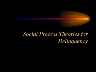 Social Process Theories for Delinquency