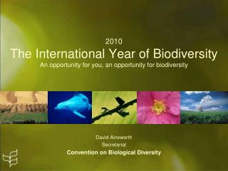 2010 The International Year of Biodiversity An opportunity for you, an opportunity for biodiversity
