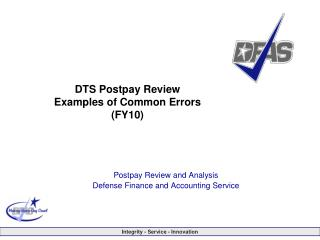 DTS Postpay Review Examples of Common Errors (FY10)