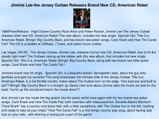 Jimmie Lee-the Jersey Outlaw Releases Brand New CD, American