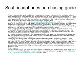 Soul headphones purchasing guide