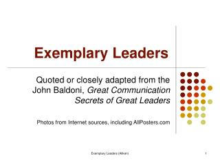 Exemplary Leaders